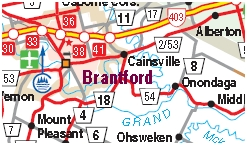 Brantford Ontario Motorcycle Map