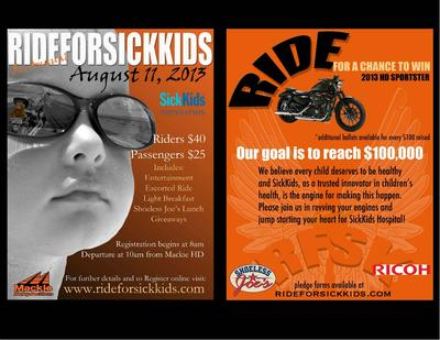 2013 ride for Sick Kids flyer