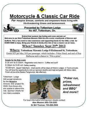 Tottenham 3rd Annual Motorcycle & Classic Car Poker Run